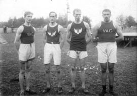 Portrait of four Vancouver athletes, Archie McDiarmid on far right
