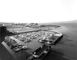 [View from Burrard Bridge north-west overlooking Burrard marina and Vanier Park complex in the di...