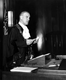 "Mayor A.T. Alsbury with the engraved anniversary gavel, giving his address ""The First Sevent..."