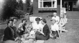 [Women peeling vegetables outside of Galiano Lodge at] Galiano, B.C.