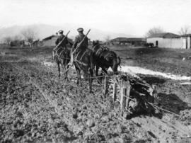 [Wooden sleigh used to haul supplies through the mud on the Salonica front]