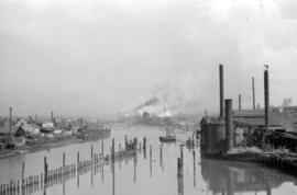 [View of mills on False Creek]