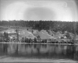 [View of houses on shore of Lake Okanagan]