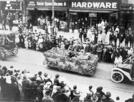 [Unidentified float covered with plants in the 600 Block of Granville Street during a Victoria Da...