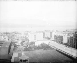 [View of downtown along Granville Street, looking north from the Hotel Vancouver]