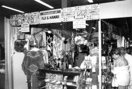 Display of goods from Fiji and Hawaii