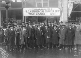 [Men in front of the Headquarters of the B.C. Commercial Travellers War Dance at 533 Pender Street]