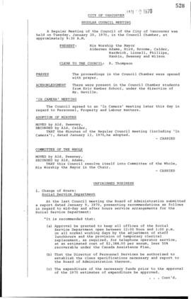 Council Meeting Minutes : Jan. 20, 1970
