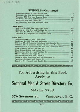 Sectional map and street directory of Vancouver, British Columbia : list of Vancouver city school...