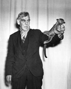 "[Mr. W.H. Phipps with his pet kinkajou named ""Teddy""]"