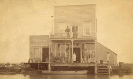 [Exterior of Kenneth Sweet's store on the water on Lulu Island]