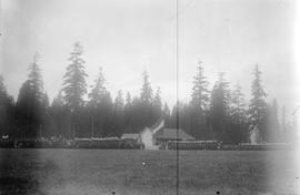 [1st and 2nd Battalions, 5th Regiment, Canadian Garrison Artillery, marching past Brockton Point]