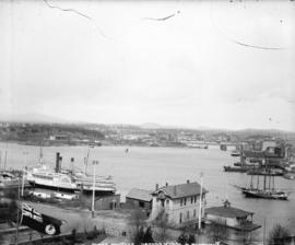 [View of Victoria, B.C., from the Parliament Buildings, showing the inner harbour]