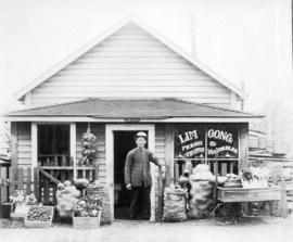[Exterior of Lim Gong fresh fruits and vegetable store at 157 - 2nd Street]