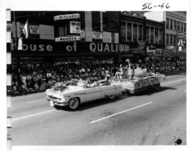North Vancouver Orchid Florists decorated car and float in 1956 P.N.E. Opening Day Parade