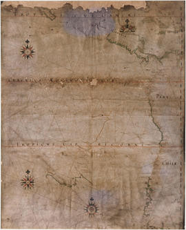 A portion of a map showing the coasts of Peru and Chile