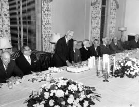 Round Table birthday luncheon for General Victor W. Odlum, cake cutting