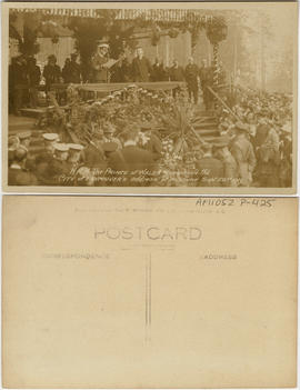 H.R.H. The Prince of Wales replying to the City of Vancouver's address of welcome Sept. 22nd 1919