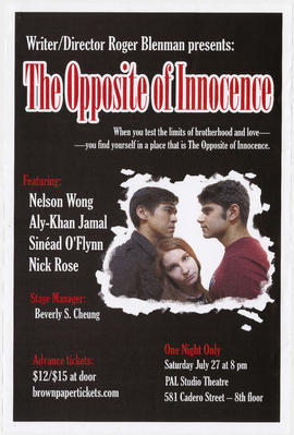 Writer/director Roger Blenman presents The Opposite of Innocence : one night only : Saturday, Jul...