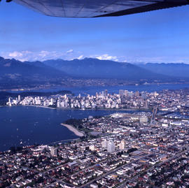 Aerial view of Vancouver : looking north west showing Arbutus Street to left, Burrard Street to r...
