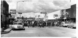 Canadian demonstrators marching down street in Blaine, Washington
