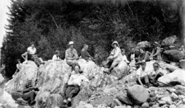 [An unidentified group of hikers taking a rest]