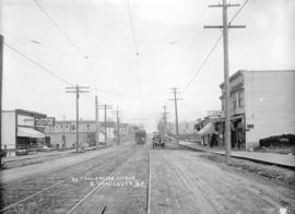 [View of streetcar, automobile, and businesses at] 25th and Fraser Avenue. S[outh] Vancouver, B.C.