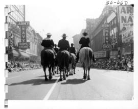 Horseback riders in 1956 P.N.E. Opening Day Parade