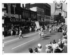 Duncan Girls Drill Team in 1956 P.N.E. Opening Day Parade