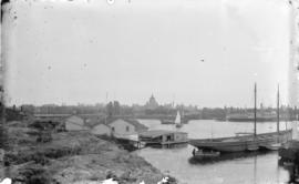 [View of Victoria Harbour, showing Spratt's Ark and the Parliament Buildings