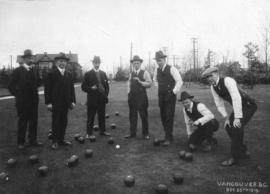 [Members of the Terminal City Lawn Bowling Club playing on Christmas Day]