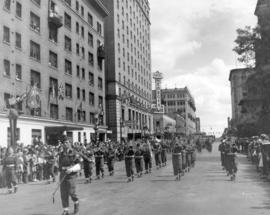 [A military parade for the Diamond Jubilee travelling west in the 800 Block of Georgia Street]