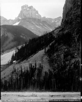 Cathedral Rock, showing C.P.Rly, and Mt. Stephen Tunnel near Field, [B.C.]
