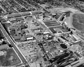 Aerial view of P.N.E. grounds looking west