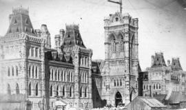 [Parliament Buildings under construction]