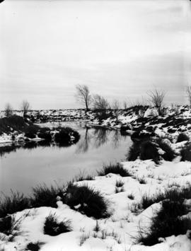 Snow scene [showing] creek at Colbrook