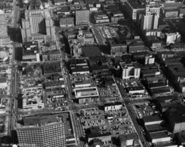 [Aerial view of] downtown bounded by Burrard Street, West Georgia Street, Granville Street and Sm...