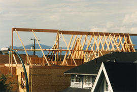 View of house under construction from Killarney Manor at 2890 Point Grey Road