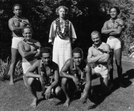 Hawaiian troupe, male members, swimmers, dancers, musicians who entertained excellently, August 1936
