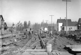 [Construction of street railroad by Vancouver Street Railway Company along Powell Street]