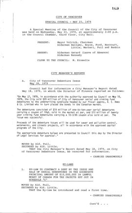 Special Council Meeting Minutes : May 23, 1979