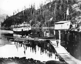 [S.S. Britannia approaching dock at Bowen Island]