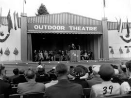 Honourable L.B. Pearson speaking on Outdoor Theatre stage during 1955 P.N.E. Opening Ceremonies