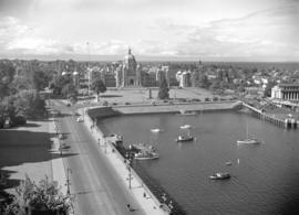 [View of Victoria Harbour an] Parliament Buildings