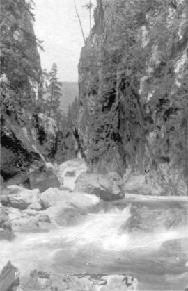 [View of Capilano Canyon with suspension bridge]