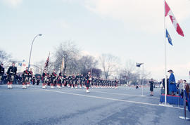 Seaforth Regiment of Canada performing Guard of honour for arrival of Jeanne Sauvé at Canadian Pa...