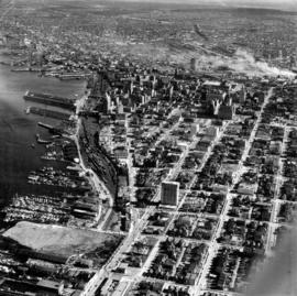 [Aerial view of Vancouver looking east]