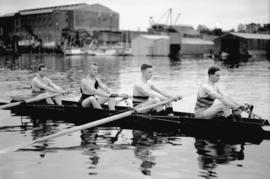 Vancouver Rowing Club [4 man crew on Coal Harbour, arena in background]