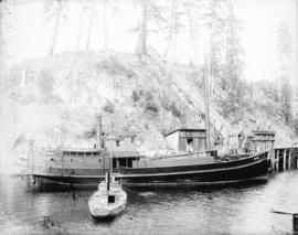 "[The salmon boat ""Selkirk"", and the steam launch ""Lily"", at small dock]"