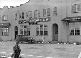 [Man and automobile in front of] Coach & Horses Inn at Esquimalt, B.C.